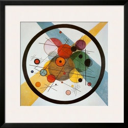 Artcom - Circle in a Circle by Wassily Kandinsky Artwork - Circle in a Circle by Wassily Kandinsky is a Framed Art Print set with a SOHO Black wood frame and a Polar White mat.