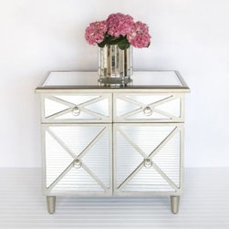 Claude Chest Side Table Mirrored Furniture by Worlds Away - This glamorous mirrored chest reflects light and will bring a bit of Hollywood to any room in your home. It easily adapts to bedrooms, dining rooms and living rooms with ease.