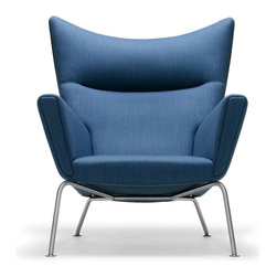 Carl Hansen & Son - Wegner by Carl Hansen Wing Chair, Blue Fabric - Watch out — this wing chair looks like it actually might take flight. A creation of renowned Danish modern master Hans J. Wegner, it boasts a solid beech frame, sturdy yet slim stainless steel legs and your choice of leather or fabric upholstery. No safety belt, though!