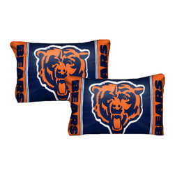 The Northwest Company - NFL Chicago Bears Pillowcase Set Football Logo Bedding - FEATURES: