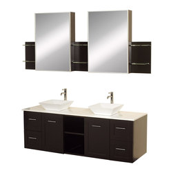 "Wyndham Collection - Wyndham Collection 60"" Avara Double Sink Vanity Set w/ White Man-Made Stone Top - Make a statement with the Avara double vanity, and add a twist of the transitional to an otherwise modern classic. The Avara is the perfect centerpiece to any master bathroom suite, featuring Blum soft close hinges and Blum soft close drawer guides. You'll never hear a door or drawer slam shut again!"