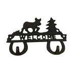 "AJchibp2977-10 - Cast Iron Reindeer and Christmas Tree Double Hook Wall Hanger - Cast iron reindeer and Christmas tree double hook welcome wall hanger. Measures 5"" x 8"". No assembly required."