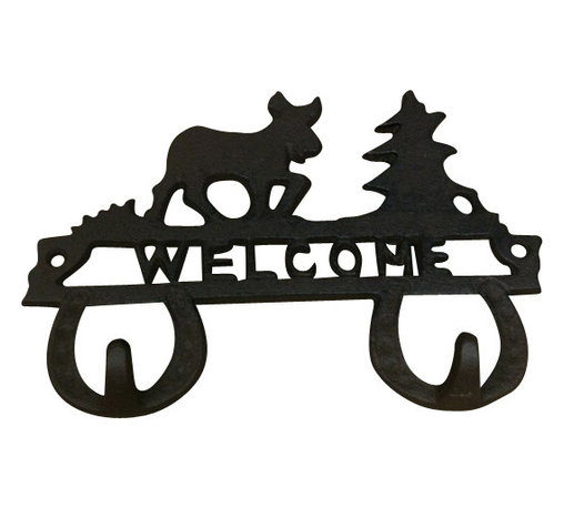 """AJchibp2977-10 - Cast Iron Reindeer and Christmas Tree Double Hook Wall Hanger - Cast iron reindeer and Christmas tree double hook welcome wall hanger. Measures 5"""" x 8"""". No assembly required."""