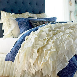 Junk Gypsy Rockin' Ruffle Quilt - Sweet dreams are to be had in this bedding ensemble that was created to look as if vintage eyelet, ruffles and denim were repurposed. This is one bed on which I'd love to nap!