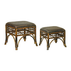 Sterling Lighting - 2-Pc Stitch Point Ottoman Set - Includes small and large ottoman. Made from wood and vinyl. Small: 19.5 in. L x 17 in. W x 16.5 in. H (6 lbs.). Large: 23.5 in. L x 20.5 in. W x 19 in. H (16 lbs.)