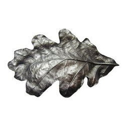 """Inviting Home - Oak Leaf Bin Pull (antique pewter) - Hand-cast Oak Leaf Bin Pull in antique pewter finish; 4-1/2""""W x 2-3/4""""H; Product Specification: Made in the USA. Fine-art foundry hand-pours and hand finished hardware knobs and pulls using Old World methods. Lifetime guaranteed against flaws in craftsmanship. Exceptional clarity of details and depth of relief. All knobs and pulls are hand cast from solid fine pewter or solid bronze. The term antique refers to special methods of treating metal so there is contrast between relief and recessed areas. Knobs and Pulls are lacquered to protect the finish. Alternate finished are available."""