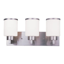 Z-Lite - Z-Lite Cosmopolitan Bathroom Light X-NB-V3-213 - For a cutting edge modern fixture, look no further than this three light vanity. Milk white shades are complimented with brushed nickel bands, and accented with a modern styled wall mount.