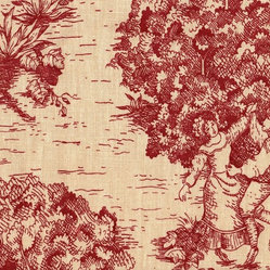 Euro Shams Pair Toile Crimson Red