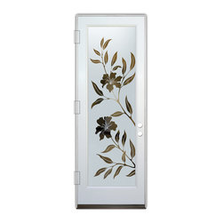 Sans Soucie Art Glass (door frame material Plastpro) - Glass Front Entry Door Sans Soucie Art Glass Hibiscus - Sans Soucie Art Glass Front Door with Sandblast Etched Glass Design. Get the privacy you need without blocking light , thru beautiful works of etched glass art by Sans Soucie! This glass is semi-private.  (Photo is view from outside the home or building.) Door material will be unfinished, ready for paint or stain.  Bronze Sill, Sweep.  Satin Nickel Hinges. Available in other finishes, sizes, swing directions and door materials.  Tempered Safety Glass.  Cleaning is the same as regular clear glass. Use glass cleaner and a soft cloth.