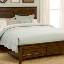 Laurel Creek - Liberty Laurel Creek Cinnamon Finish Bed with Storage Footboard - The Laurel Creek bed coalesces comfortable styling with universal appeal. This bed highlights framed drawers and overlay panels,straight line cases with tapered feet,and antique brass knobs that complement the cinnamon finish.