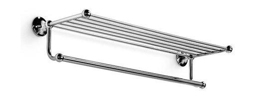 WS Bath Collections - Venessia 52926.29-G Self-Adhesive Towel Rack with Hanging Towel Rail - Venessia by WS Bath Collections Towel Rack 25.6 in Polished Chrome, Self-Adhesive Installation