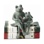 "Reading Frog Shelf Sitter - Placed upon books or edges of shelves or tables, this adorable shelf sitter is certain to create a warm, family atmosphere. Depicting parent and child frogs sharing a book while seated on a lily pad, this unique accent will make a great addition to a child's bedroom or library to encourage reading. Dimensions: 6""w x 5""d x 7""h"