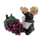 `Wine Valet` Butler and Grapes Tabletop Single Wine Bottle Holder - This adorable wine holder features a happy butler sitting on a wine barrel, propping up your favorite bottle until that special occasion. Made of cold cast resin, it measures 9 inches long, 6 1/2 inches tall, and 5 1/2 inches wide. This piece shows great detail, from the beautiful bunch of purple grapes down to the tiny buttons on butler`s shirt. Each one is hand-painted, and is part of a limited edition of only 5000 pieces. It makes a lovely gift for any wine connoisseur.