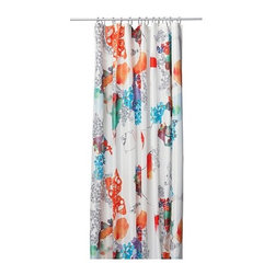 TALLHOLMEN Shower Curtain - I love this shower curtain; it has a beautiful and colorful pattern. I really like how it looks like a water color painting.