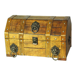 Pirate Treasure Chest with Lion Rings - Our warm and welcoming steamer trunk brings back days of old time. Remember how excited you are when you were a little kid to look into your grandma's old chest, our decorative trunks will bring back those memories and help you create some new ones too. Our hope chest boxes are all handcrafted and tailored to enhance the existing decor of any room in the home. Great to use for your very own treasure chest!