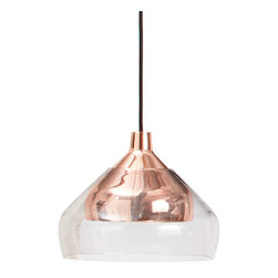 Blu Dot - Blu Dot Trace 1 Pendant Lamp, Copper - A subtly tinted glass shade rests on a metal pendant to create a simple, yet eye-catching interplay between two materials and forms. Three finishes to choose from to suit nearly any space. Mounts to ceiling.Powder-coated steel or polished copper-plated frame, Cloth-covered cord, Maximum 40 watt incandescent, one CFL included