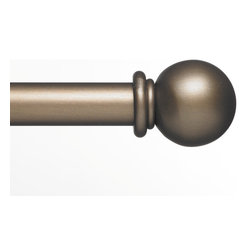 "Custom Wrought Iron Drapery Hardware - Ball Bronze - Custom Wrought Iron 1"" Drapery Hardware by Blinds.com offers a wide selection of color and finial options and are the perfect finishing touch for your drapes. Dramatic and classic, each rod is custom cut to any width you specify up to 336"". Each outside mount kit includes the rod, bracket, two finials and mounting hardware."