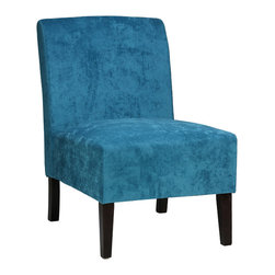 Cortesi Home - Chicco Blue Armless Accent Chair - The armless Chicco Blue accent chair will add character to any of your rooms with its calming blue color. It is upholstered in a blue microfiber fabric with legs that come in a cappuccino finish. This chair is excellent quality with a solid wooden frame, spring support construction, and a plush quality fabric. Seat Height: 16""