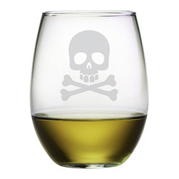 Susquehanna Glass - Skull & Crossbones Stemless Wine Glass, 21oz, S/4 - Each 21 ounce stemless tumbler features a sand etched skull and crossbones design. Dishwasher safe. Sold as a set of four. Made and decorated in the USA.