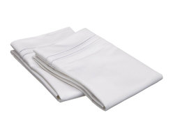 """Egyptian Cotton 800 TC Embroidered Pillowcase Set - Standard - White/White - Our 800 Thread Count Pillowcase Set offers superior quality and softness for elevated comfort. They are composed of premium, long-staple cotton and have a """"Sateen"""" finish as they are woven to display a lustrous sheen that resembles satin. Each set include (2) Pillowcases 20""""x30""""."""