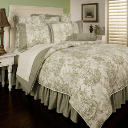 Sherry Kline - Sherry Kline Country Toile Green 6-piece Comforter Set - Update your bedroom decor with the classic and traditional Sherry Kline Country comforter set. Constructed of 100-percent cotton,the comforter features a checkered gingham in a green finish,and French toile design pattern in a creme background.