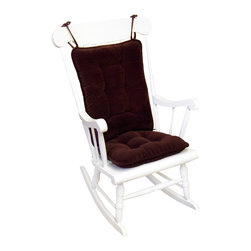 None - Merlot Ribbed Microfiber Standard Rocking Chair Cushion Set - Dress up your favorite rocking chair with our fully-reversible rocking chair cushion set. These cozy seat and back cushions have tie backs to keep them in place, making your rocking chair comfortable for rocking that new baby, reading, or dozing.