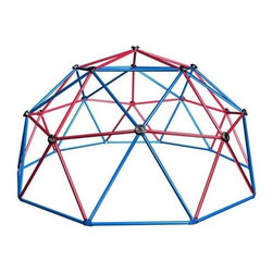 Lifetime - Kids Metal Dome Climber in Red & Blue - Includes real rock climbing hand grips and powder-coated steel poles. Materials made of powder-coated steel. Rust-resistant. Assembly required. 1-Year limited factory warranty. Dome dimensions: 120 in. diameter x 60 in. H . Required safety zone dimensions: 72 in. beyond the perimeter of the unit. Steel tubing dimensions: 1.13 in. diameter x 33 in. L steel tubes. Weight capacity: 600 lbs.The Lifetime Dome Climber is a toy that will keep children of all ages busy day after day. The dome climber has molded handles for easy climbing around the geodome. We suggest you put some rubber mulch or other material suitable for playground saftey under the dome in order to keep your children climbing again and again. Powder-coated steel reduces heat retention so children play safely and comfortably. Up to 6 kids can enjoy the dome climber at the same time. The Lifetime Dome Climber helps your child to develop strong muscles and coordination. Our Dome Climber is a fun, geometric design with real rock climbing hand grips. Powder-coated steel prevents rusting and reduces heat retention so children play safely and comfortably. Like all of our products, the Dome Climber is made from top-quality construction, and built to last.