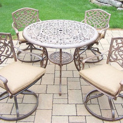 Oakland Living - 5-Pc Outdoor Rockers Set - Includes table, four swivel rockers with cushions and metal hardware. Handcast. Umbrella hole table top. Fade, chip and crack resistant. Traditional lattice pattern and scroll work. Hardened powder coat. Rust free. Warranty: One year limited. Made from cast aluminum. Antique bronze finish. Minimal assembly required. Table: 42 in. Dia. x 29 in. H (44 lbs.). Chair: 23 in. W x 17.5 in. D x 38 in. H (33 lbs.)The Oakland Mississippi Collection combines southern style and modern designs giving you a rich addition to any outdoor setting. This dining set is the prefect piece for any outdoor dinner setting. Just the right size for any backyard or patio.