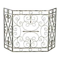 Cyan Design - Cyan Design Crawford Fireplace Screen X-49040 - Delicate scrolls in a variety of sizes adorn the body of this Cyan Design fire screen. From the Crawford Collection, this decorative fireplace screen features iron construction and slender, elegant detailing that is complimented by a Distressed Antique White finish.