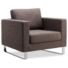 Modern Armchairs And Accent Chairs Portobello Grey-Brown Arm Chair (Sliders)