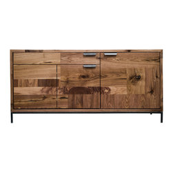 kith&kin - Small Patcwork Console - Walnut Media Cabinet - Small media cabinet. Walnut patchwork body, door, and drawer fronts. Hand selected and thoughtfully laid out pieces of walnut are carefully joined. Patches and Dutchmen are inlaid to stabilize and accentuate cracks and checks to add warm geometrical interest to a simple design for a distinct and unique look guaranteed to make a bold statement while remaining timeless. Our own shop made raw steel pulls and slim steel base.