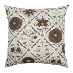 """Jiya Pillow - Rhinestone - Add pattern and pizazz to a room by accessorizing with Z Gallerie's sensational 24"""" Jiya pillow in Rhinestone. Intricate medallion and floral designs, enclosed in a diamond-shaped lattice, are printed on pure cotton in easygoing neutrals to lend appealing visual interest to furniture pieces."""