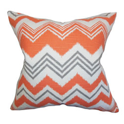 "The Pillow Collection - Quirindi Zigzag Pillow Orange - Let this mesmerizing decor piece transform your home into a relaxing space. This throw pillow features a bold zigzag pattern in shades of orange, gray and white. For a transitional touch adorn this toss pillow anywhere inside your home. Constructed using 100% plush cotton material, this 18"" pillow is made to last for a long time."