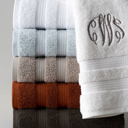 "Kassatex - Kassatex Belaire Hand Towel, Monogrammed - Quick-dry, 600-gram towels with double dobby are made of highly absorbent, ultra-fine, ring-spun cotton and come in a range of fresh colors. Bath and hand towels may be monogrammed, if desired. Bath towel, 30"" x 54"". Hand towel, 18"" x 28"". Face clot..."
