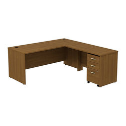 """BBF - BBF Series C 72Wx30D L-Desk with 3Dwr Mobile Pedestal - BBF - Computer Desks - SRC001WOSU - Affordable elegance in a functional design. Create a complete office with the BBF Series C 72""""W Shell Desk 48""""W Bridge Return and 3-Drawer Mobile Pedestal (B/B/F). The 48""""W Bridge Return mounts on the left or right to create an expansive L-Shaped work surface of durable thermally fused laminate resistant to scratches and stains. The 3-Drawer Mobile Pedestal unit provides two box drawers for office supplies and one file drawer to accommodate letter legal or A4 size files with full drawer access on full-extension ball bearing slides. A front face lock secures the file drawer and lower box drawer for added privacy. The 3-Drawer Mobile Pedestal is accented by brushed nickel hardware and fits conveniently under the desktop with room for an additional unit. An integrated wire management system incorporates desktop grommets and wire channels to conceal wires and cords to maintain a clean look. With a finish to match any decor additional BBF Series C pieces allow for additional configurations as your needs evolve and grow. Solid construction meets ANSI/BIFMA test standards in place at time of manufacture; this product is American Made and is backed by BBF 10-Year Warranty."""