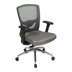 Office Star - Office Star ProGrid High Back Chair with Adjustable Arms in Grey - Office Star - Office Chairs - 511342AL