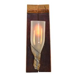 "Wine Country Craftsman - Elegance - ""Classic"" - Wine Barrel Stave & Bottle Sconce - Elegance - ""Classic"" - Wine Barrel Stave & Bottle Sconce - 100% Recycled"