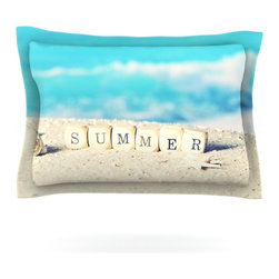 "Kess InHouse - Monika Strigel ""Summer at the Beach"" Blue Coastal Pillow Sham (Cotton, 30"" x 20"" - Pairing your already chic duvet cover with playful pillow shams is the perfect way to tie your bedroom together. There are endless possibilities to feed your artistic palette with these imaginative pillow shams. It will looks so elegant you won't want ruin the masterpiece you have created when you go to bed. Not only are these pillow shams nice to look at they are also made from a high quality cotton blend. They are so soft that they will elevate your sleep up to level that is beyond Cloud 9. We always print our goods with the highest quality printing process in order to maintain the integrity of the art that you are adeptly displaying. This means that you won't have to worry about your art fading or your sham loosing it's freshness."
