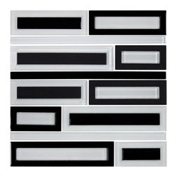 Glass Tile Mosaic Water Jet Cut, Black & White, Box - Sold by the box 10 sheets = 9.60 sq/ft