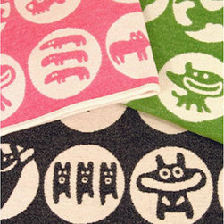 Klippan Yllefabrik - Klippan Cotton Chenille Baby Blanket - Friendly Monsters Black, Green - Swedish company, Klippan Yllefabrik, works with leading Swedish designers and produces high quality textiles made in Sweden today.  The result is beautiful, contemporary design.