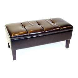 4D Concepts - 4D Concepts Blackstone Storage Bench in Brown - What a beautifully crafted upholstered storage bench. This bench is perfect for any den, living room, entry way, or the end of bed. This bench will fit perfectly in the home and will meet your storage and seating needs. The large tufted top, which comes with a locking hinge, opens to a fully lined storage area that is great for storing blankets, gloves, scarf's or whatever your needs might be. The thick solid wood legs are finished in a rich espresso finish. Constructed of wood and fabric. Clean with a dry non abrasive cloth. Light Assembly required.