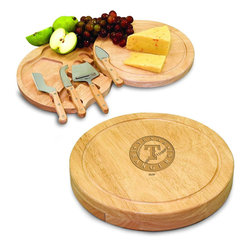 """Picnic Time - Texas Rangers Circo Cheese Board in Natural - The Circo by Picnic Time is so compact and convenient, you'll wonder how you ever got by without it! This 10.2"""" (diameter) x 1.6"""" circular chopping board is made of eco-friendly rubberwood, a hardwood known for its rich grain and durability. The board swivels open to reveal four stainless steel cheese tools with rubberwood handles. The tools include: 1 cheese cleaver (for crumbly cheeses), 1 cheese plane (for semi-hard to hard cheese slices), 1 fork-tipped cheese knife, and 1 hard cheese knife/spreader. The board has over 82 square inches of cutting surface and features recessed moat along the board's edge to catch cheese brine or juice from cut fruit. The Circo makes a thoughtful gift for any cheese connoisseur!; Decoration: Laser Engraved; Includes: 1 cheese cleaver (for crumbly cheeses), 1 cheese plane (for semi-hard to hard cheese slices), 1 fork-tipped cheese knife, and 1 hard cheese knife/spreader"""