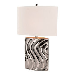 Trans Globe Lighting - Trans Globe Lighting RTL-8638 S Curved Silver Contemporary Table Lamp - Ceramic base with shiny silver finish in grooved S curve pattern. Contemporary mod-art deco look. Very stylish.