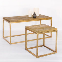 Worlds Away Wood Top And Gold Leaf Coffee Table - I've seen this table a million times, but always in chrome and glass. This wood and gold version is simply stunning.