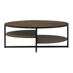 Jofran - Sherwood Pine Oval Coffee/Cocktail Table With 2 Shelves and Metal Legs - Rustic nature themes combine with modern art in each piece of this table collection. This living room cocktail table has an industrial vibe that offers high style at an affordable price point. The table top and shelves are crafted from reclaimed pine for an upcycled look while metal beams provide strength with an edge of modern art. The offset shelves can be used to hold books, magazines or media remotes and also serve as a contemporary aesthetic of shape and form. This coffee table works best in transitional and industrial homes but can also be used in many casual, contemporary and cottage designs.
