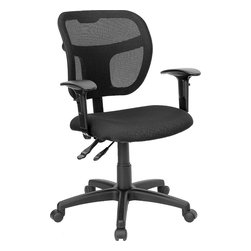 Flash Furniture - Flash Furniture Mid-Back Mesh Task Chair with Black Fabric Seat and Arms - Upgrade your standard mesh office chair with this multi-functional version. When you need more adjusting capabilities than your standard office mesh chair this will exceed your expectations. The breathable mesh back keeps you cool when sitting for long periods of time. The firm, comfortably padded seat will keep you at ease during work or while leisurely browsing. Whatever your need this chair will perform for you! [WL-A7671SYG-BK-A-GG]