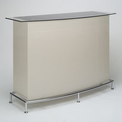 "Chintaly Imports - Deborah Bar - Features: High Gloss Bar; Black Glass Top; Dimensions: 55.12""W x 17.72""D x 41.34""H"