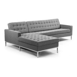 Kardiel Florence Knoll Style Left Sectional, Cadet Grey Cashmere Wool - The Florence Knoll Sectional, Sofa, Chair and Loveseat is a design icon. The original design was conceived in 1956 by Florence Knoll, a world class architect and designer. It is a relatively simple design as it was originally meant to complement the classic innovations of Saarinen and Bertoia. The Knoll philosophy of furniture design solves practical and aesthetic design problems. The philosophy results in minimalist beauty, lasting durability and luxurious comfort in one complete package. It is well known that Knoll studied and collaborated with Mies Van Der Rohe. Knoll designed the classic trio using a durable stainless steel frame with minimal materials. Cubic cushions featuring compressed buttons in a purposeful and logical layout provide style and comfort to the supporting thin armed, minimalist frame. Do you notice the similarities in design philosophy to the Mies Van der Rohe's Barcelona Chair? The Knoll Sofa, Loveseat, Chair and ottoman is becoming even more popular as its minimalist yet functional design fits perfectly into today's modern home. This stunning reproduction of the Florence Knoll 1956 Sofa Set is a Kardiel signature reproduction. Created with the highest accuracy to detail you can have your own version of one of the most influential designer icons of the 20th century. Originally meant to complement the classic innovations of Saarinen and Bertoia, the style perfectly compliments todays modern home. Available in individual pieces or the entire Sofa, Loveseat, Chair and ottoman set.