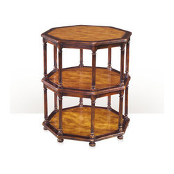 Theodore Alexander - Octagons of Pine Lamp Table - An antiqued pine and polished sable three tier octagonal lamp table, the reeded edge tiers supported between eight turned and fluted columns on bun feet. The original French provincial.