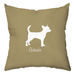 Checkerboard Ltd - Chihuahua Decorative Throw Pillow - 18 inch by 18 inch - Silhouette of a Chihuahua on the front proudly proclaiming the breed with the back of pillow featuring a houndstooth pattern. Our softly textured fabric is long-lasting, wrinkle-resistant and feels as great as it looks.
